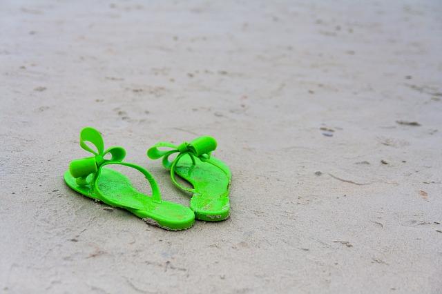 zelené pantofle